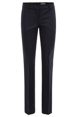 Pantaloni business straight cut in lana elasticizzata , Blu scuro