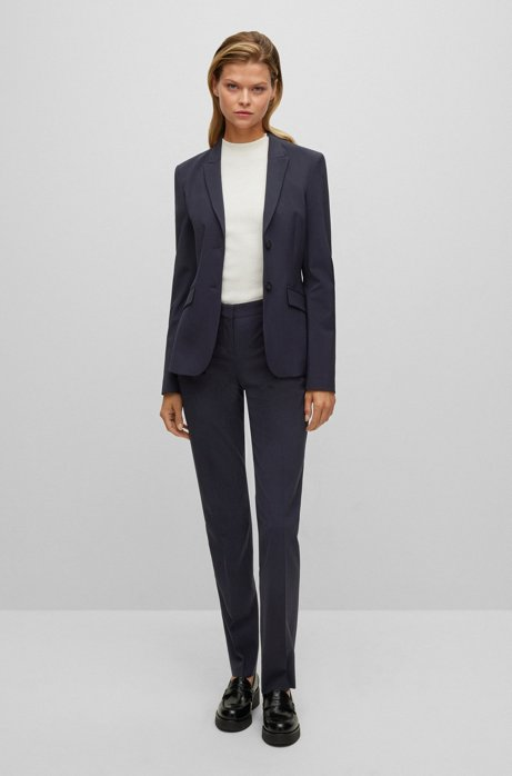 Regular-fit trousers in Italian stretch virgin wool, Dark Blue