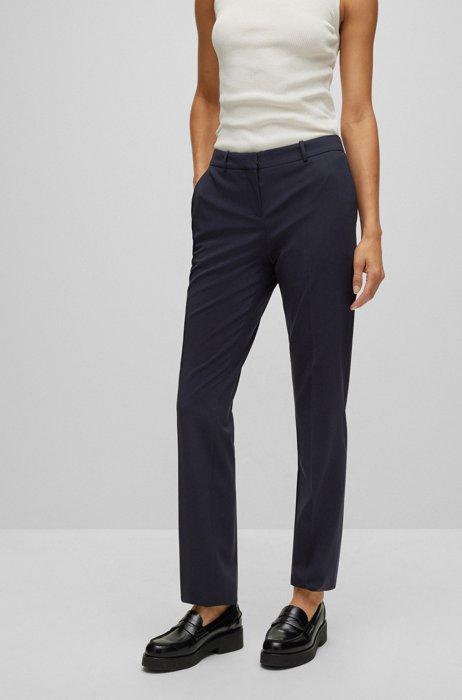 Regular-fit trousers in Italian stretch virgin wool, Dark Blue