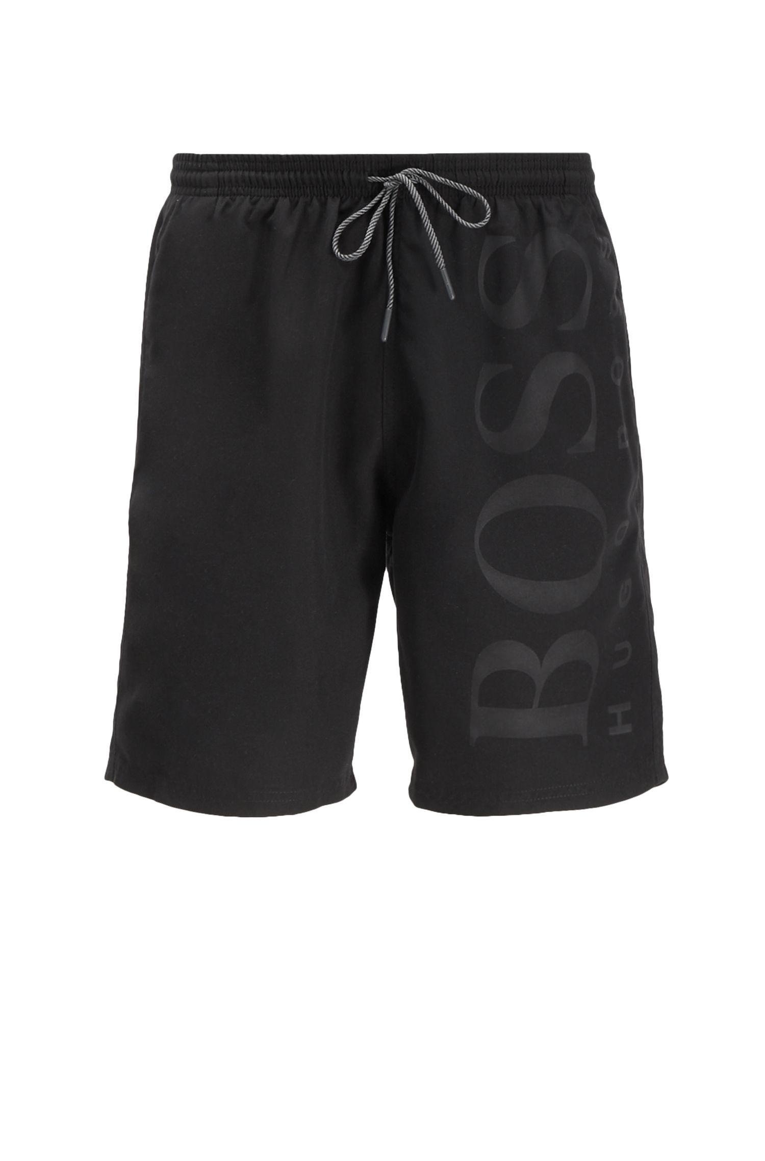 Bañador short de tejido técnico con cordón en la cintura, Negro