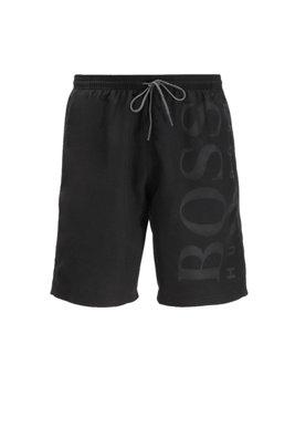 Quick-drying swim shorts with tonal logo, Black