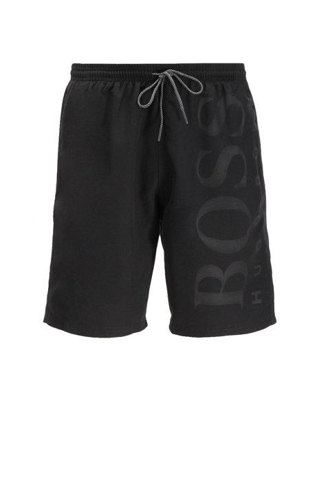 Drawstring-waist swim shorts in technical fabric, Black