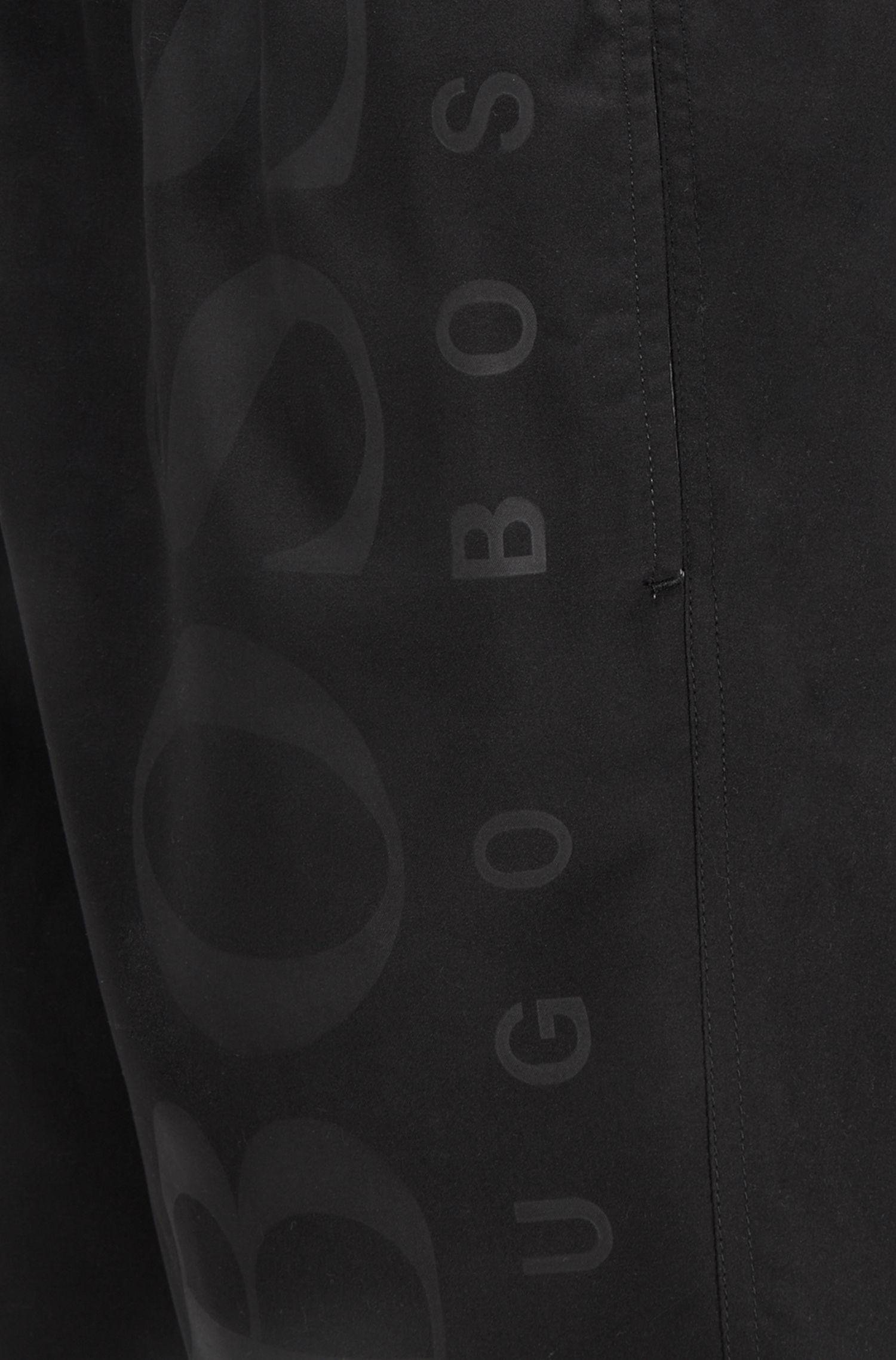 Maillot de bain en tissu technique avec cordon de serrage, Noir