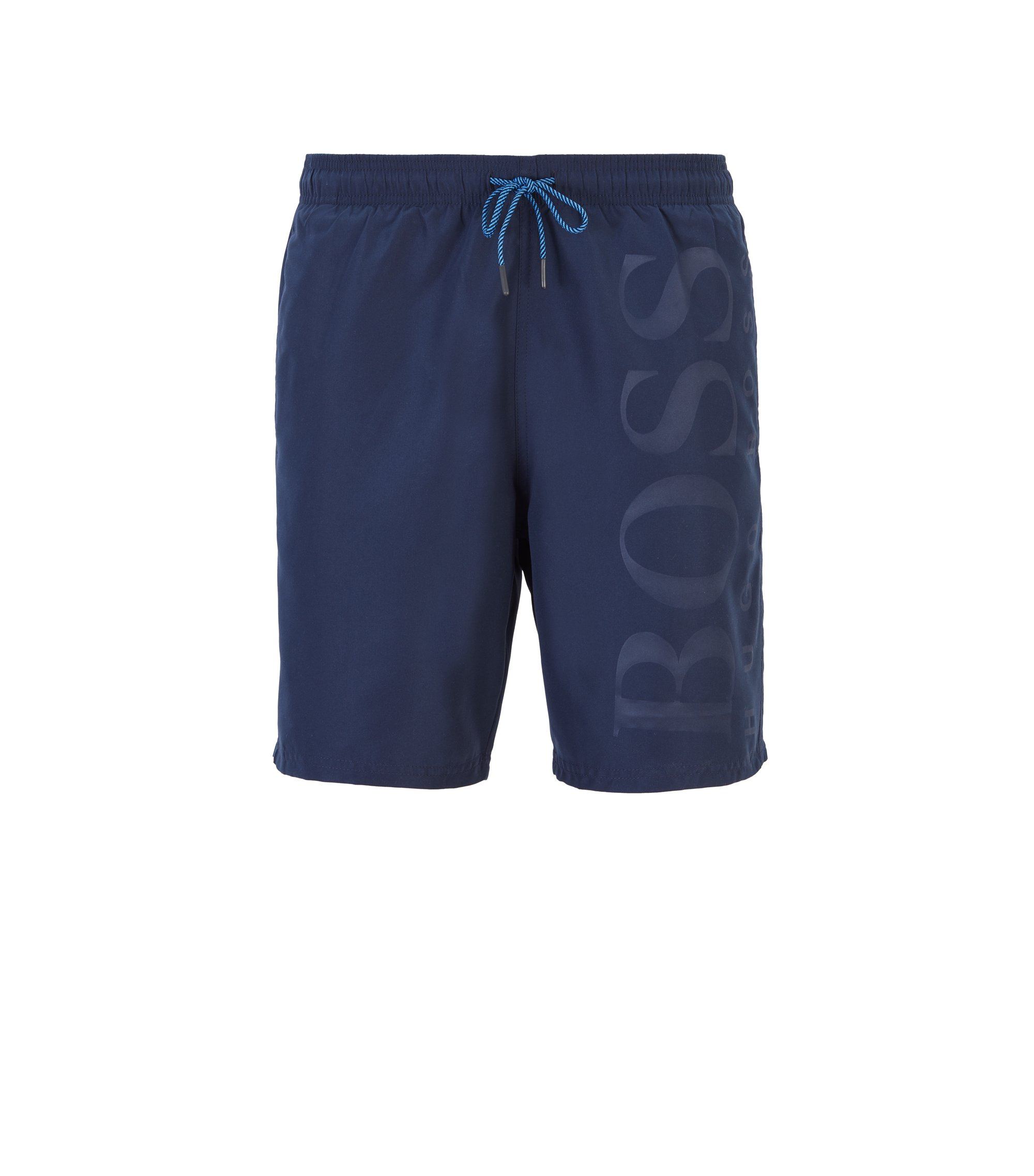 Boxer da bagno con vita con lacci in tessuto tecnico, Blu scuro
