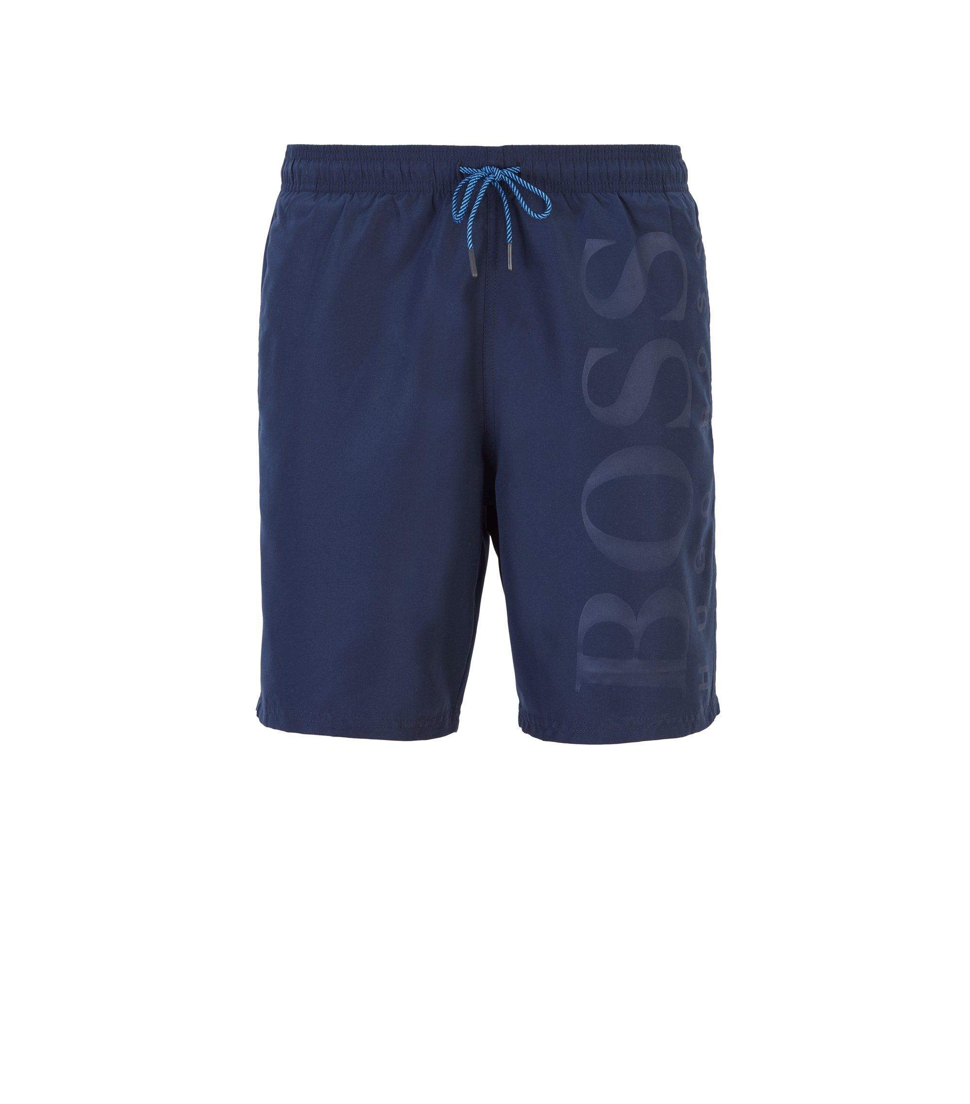 Maillot de bain en tissu technique avec cordon de serrage, Bleu foncé