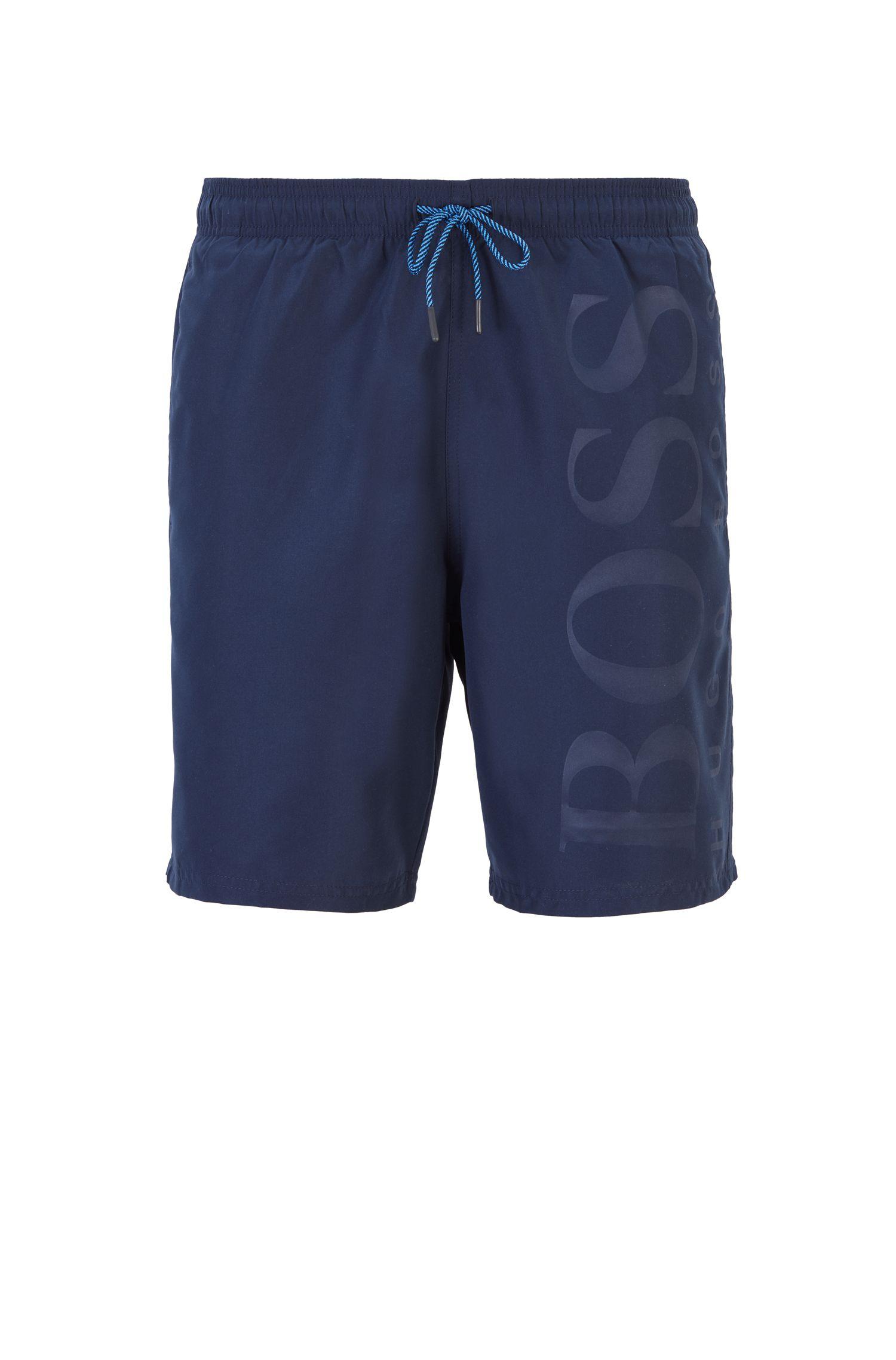 Bañador short de tejido técnico con cordón en la cintura, Azul oscuro
