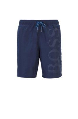 Quick-drying swim shorts with tonal logo, Dark Blue