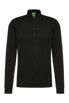 Polo à manches longues Regular Fit, en coton: «C-Paderna 30», Noir