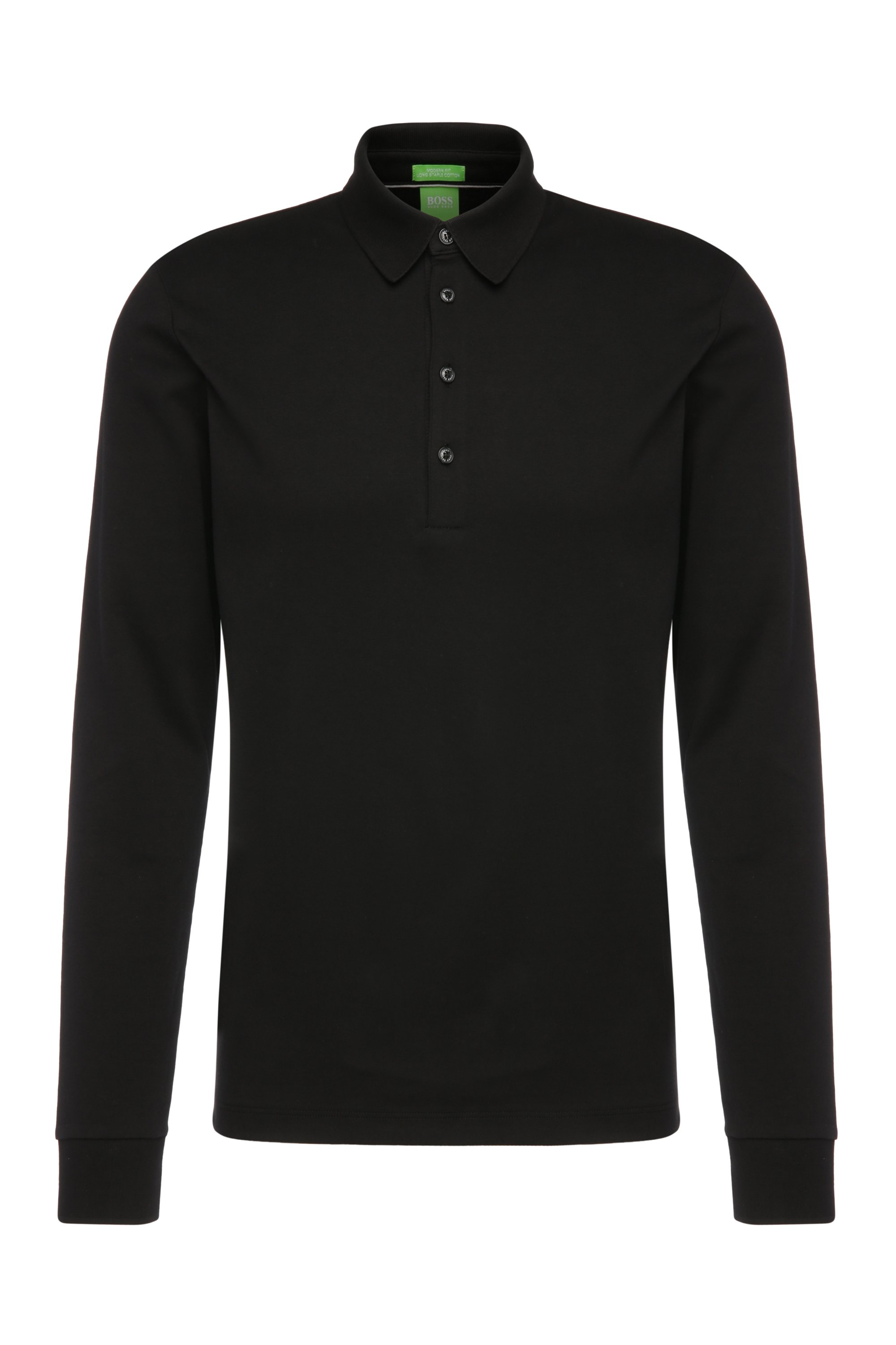 Regular-fit long-sleeved polo shirt in cotton: 'C-Paderna 30', Black
