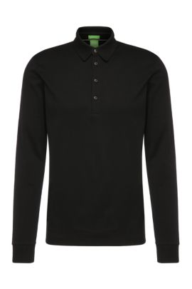 Polo de manga larga regular fit en algodón: 'C-Paderna 30', Negro
