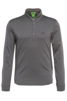 Polo à manches longues Regular Fit, en coton : « C-Paderna 30 », Anthracite