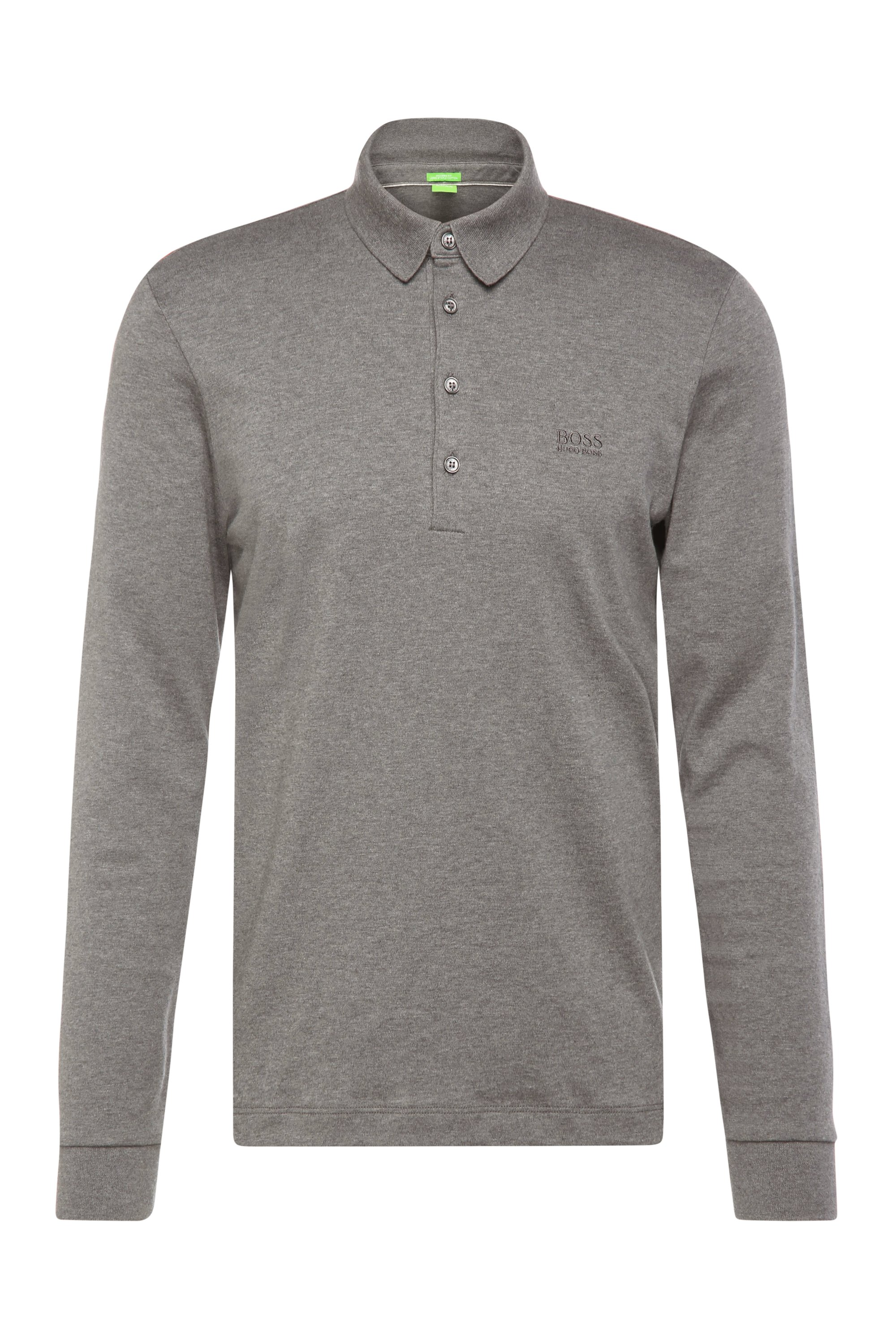Polo à manches longues Regular Fit, en coton : « C-Paderna 30 », Gris