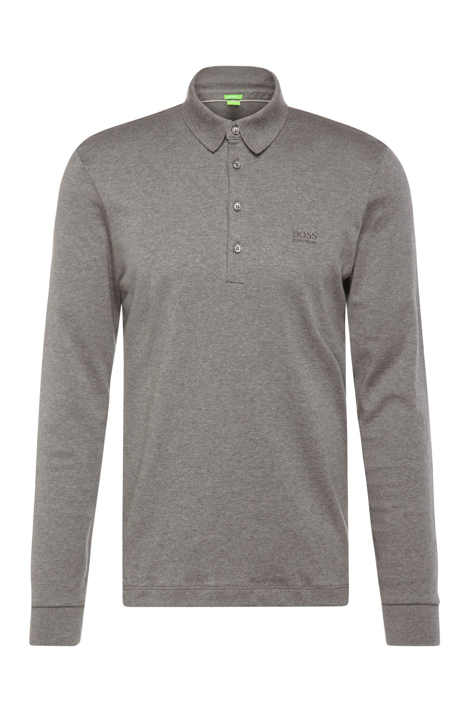 Regular-fit long-sleeved polo shirt in cotton: 'C-Paderna 30'