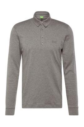 Regular-fit long-sleeved polo shirt in cotton: 'C-Paderna 30', Grey