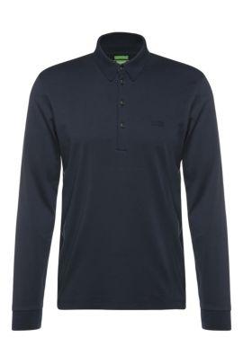 Polo à manches longues Regular Fit, en coton: «C-Paderna 30», Bleu foncé