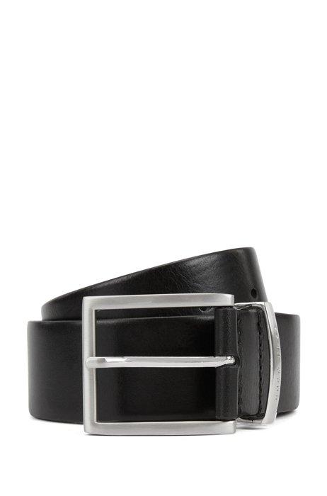 Cinturón de piel con trabilla metálica con la marca, Negro