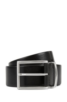 Leather belt with branded metal keeper, Black