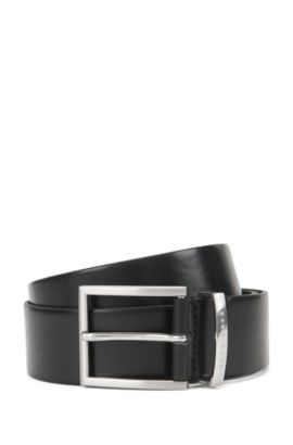 Leather belt with silver pin buckle, Black