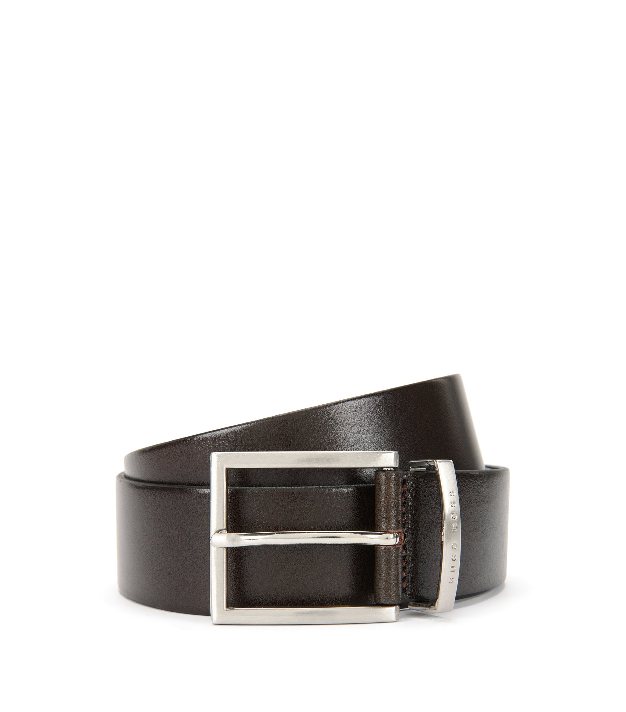 Leather belt with silver pin buckle, Dark Brown