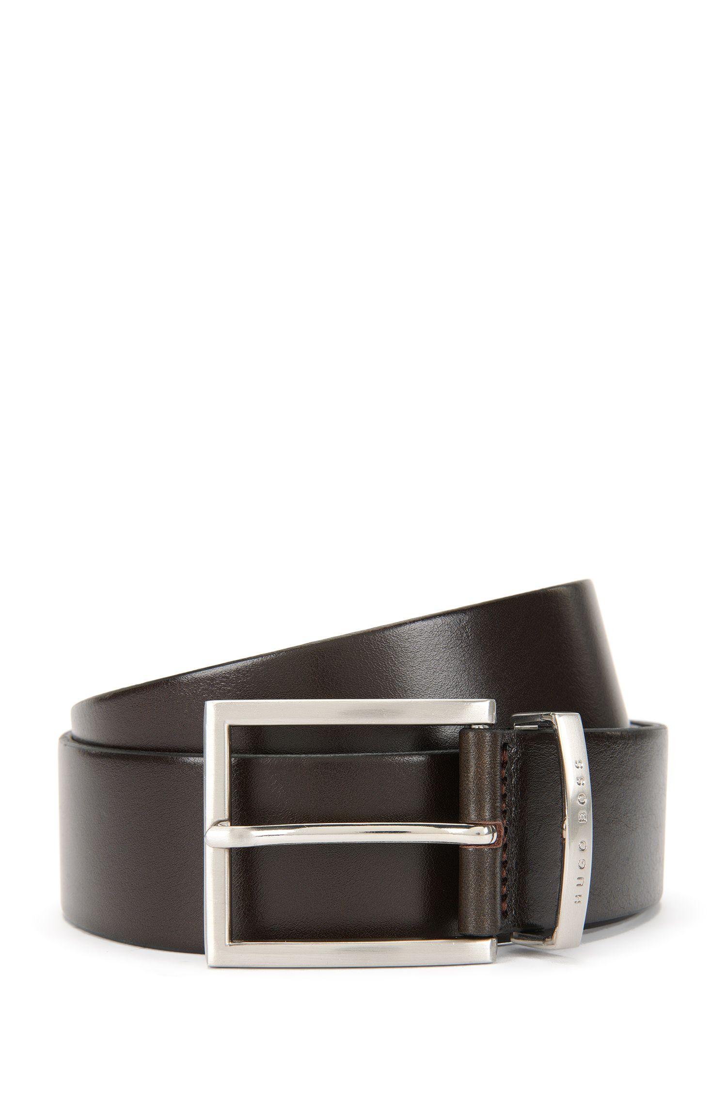 Cintura in pelle con fibbia ad ardiglione argento, Marrone scuro