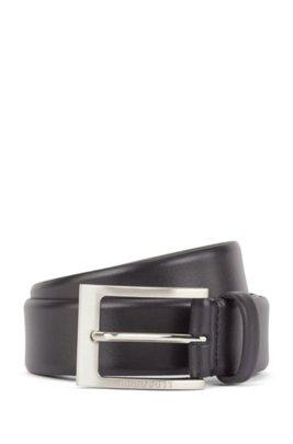 Cinturón de piel de napa con hebilla grabada con logo, Negro