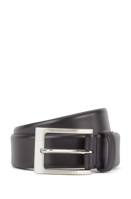 Leather belt with logo-engraved buckle, Black