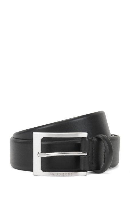 Cinturón de piel con hebilla grabada con el logo, Negro