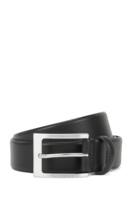 Leather belt with brushed-silver pin buckle, Black