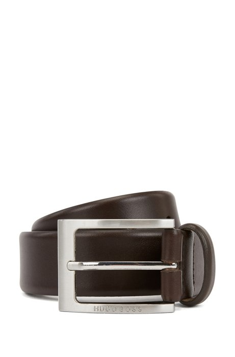 Leather belt with logo-engraved buckle, Dark Brown