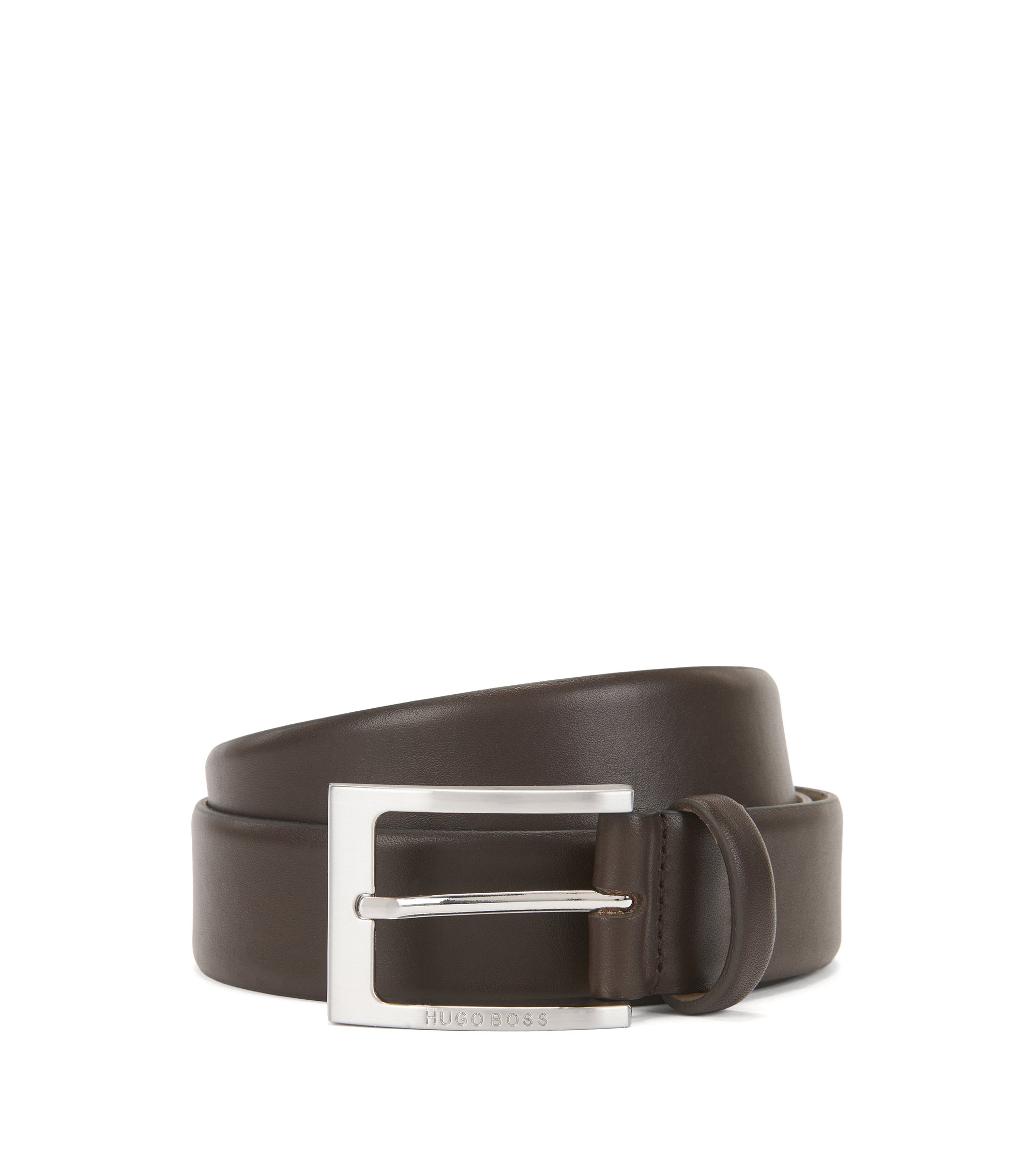 Leather belt with brushed-silver pin buckle, Dark Brown