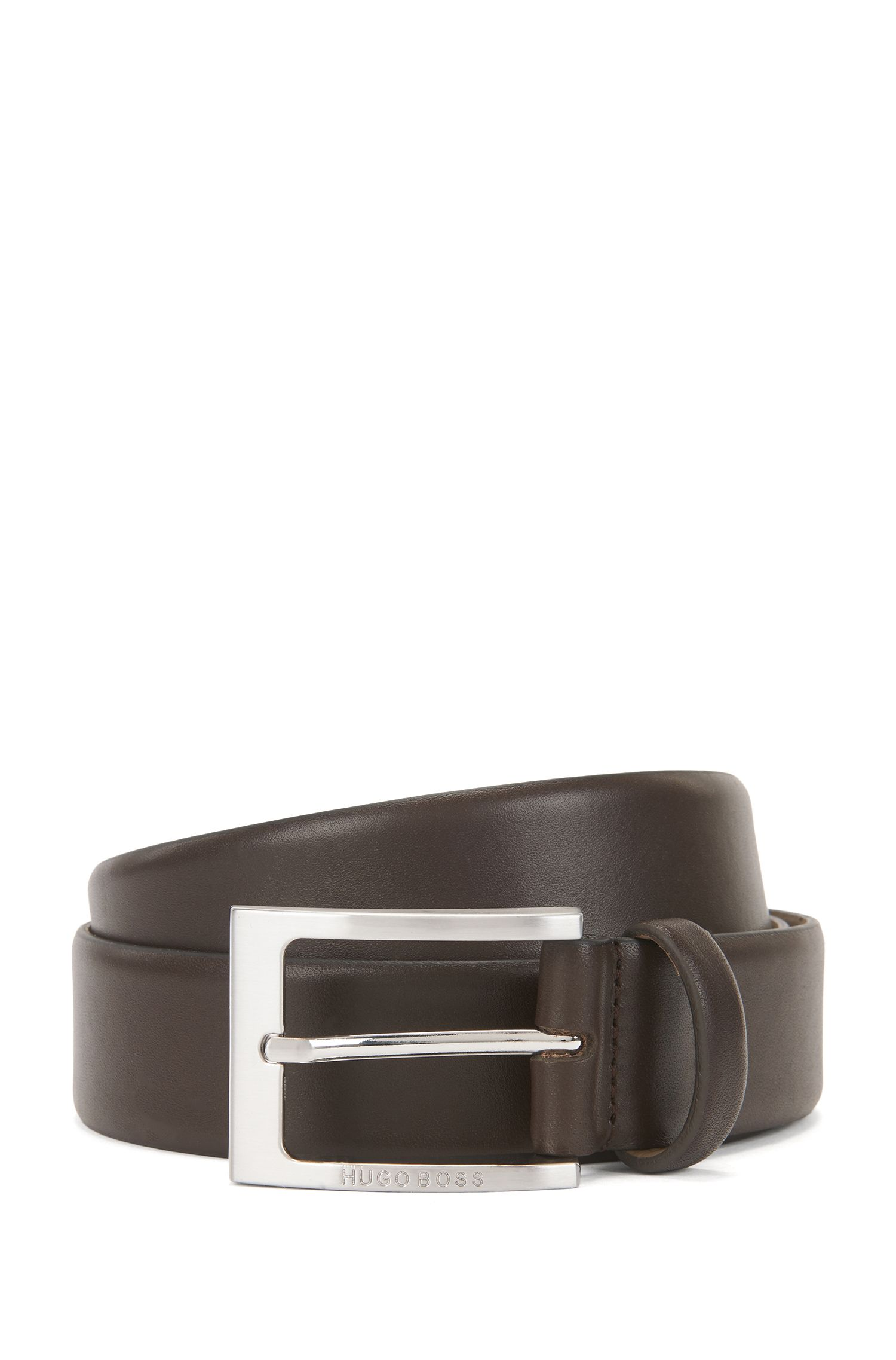 Leather belt with brushed-silver pin buckle