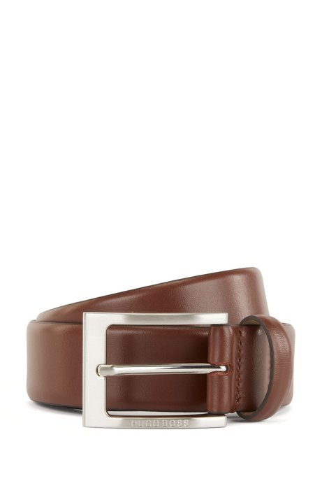 Leather belt with logo-engraved buckle, Brown