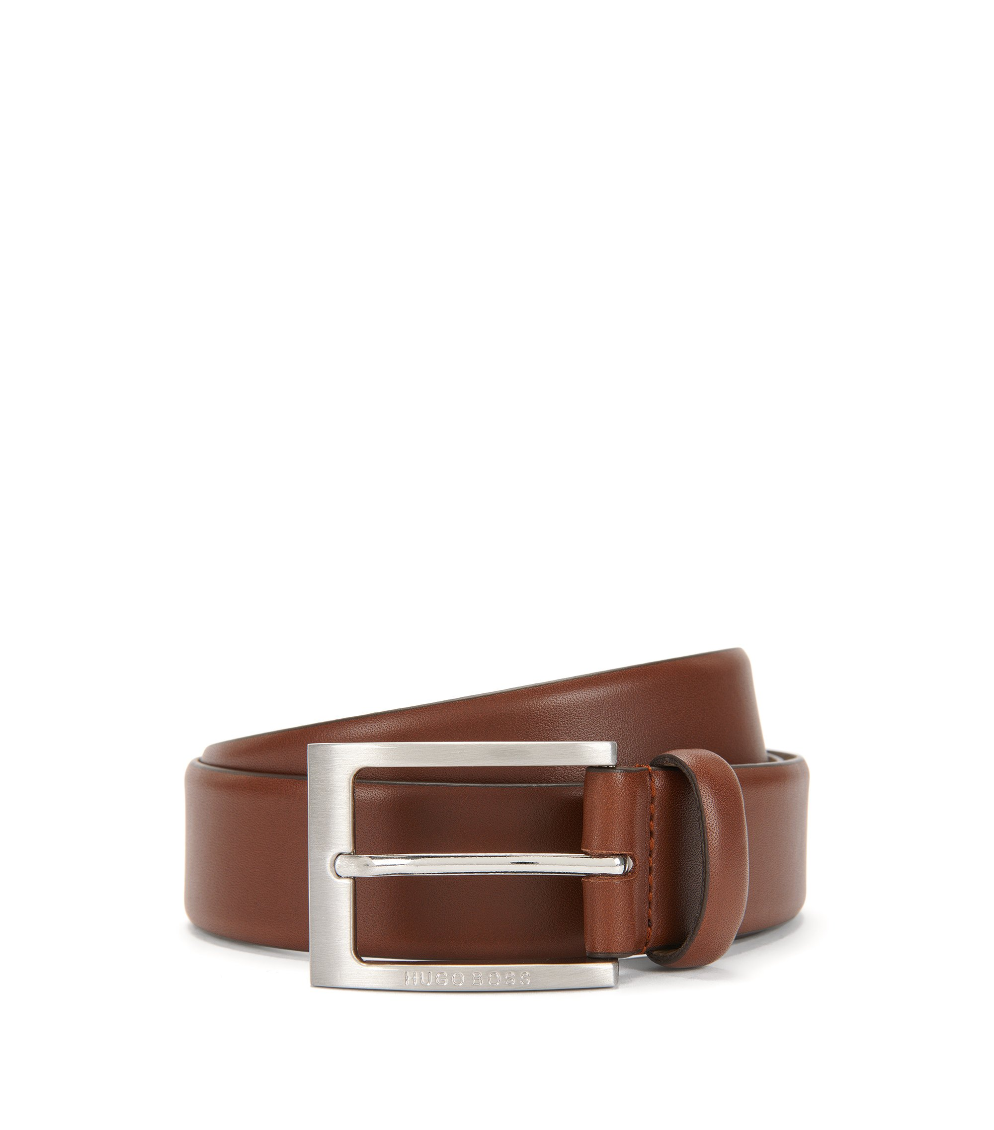 Leather belt with brushed-silver pin buckle, Brown