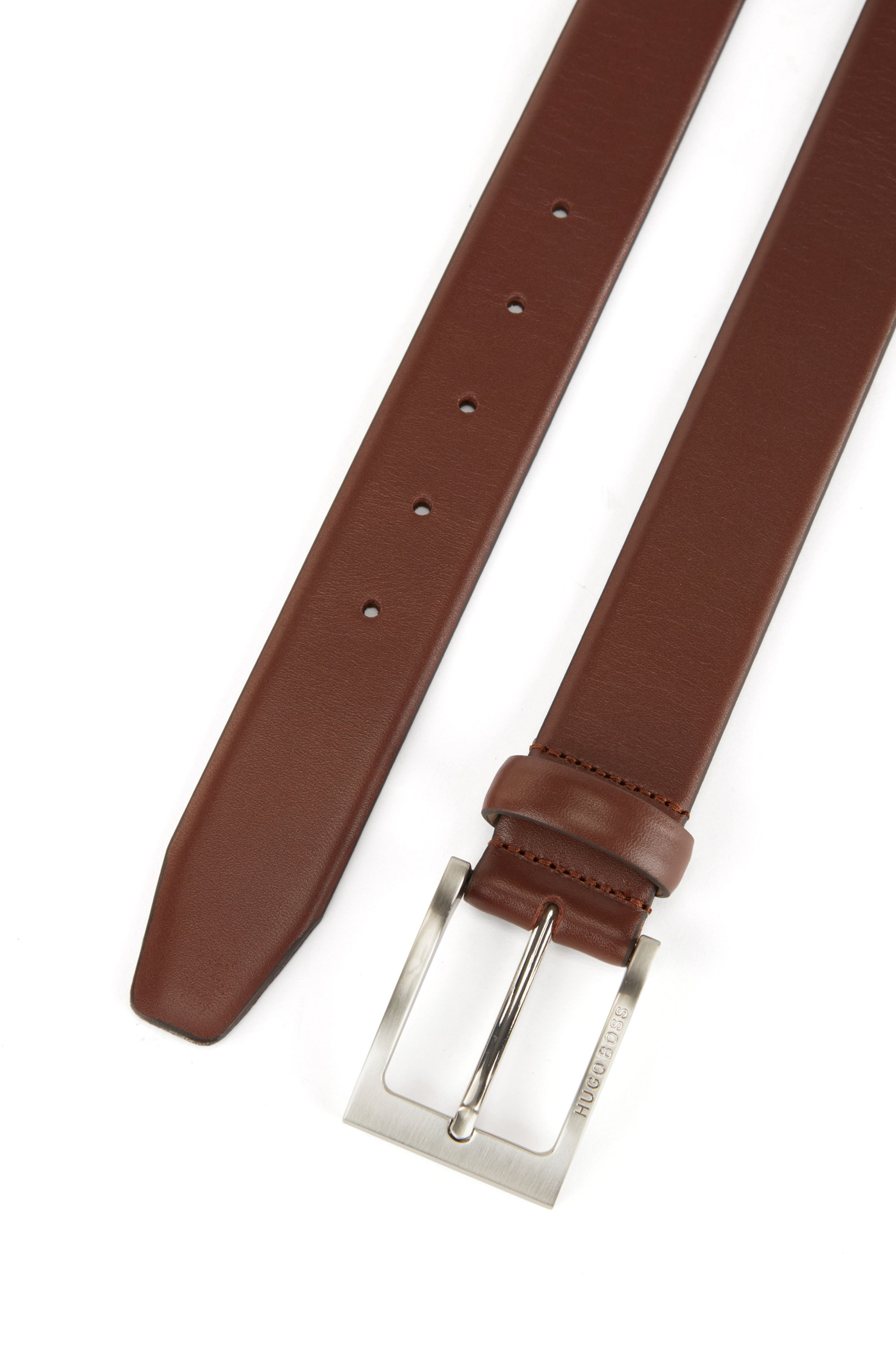 Pin-buckle belt in nappa leather