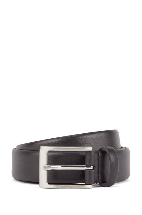 Nappa-leather belt with brushed metal pin buckle, Black