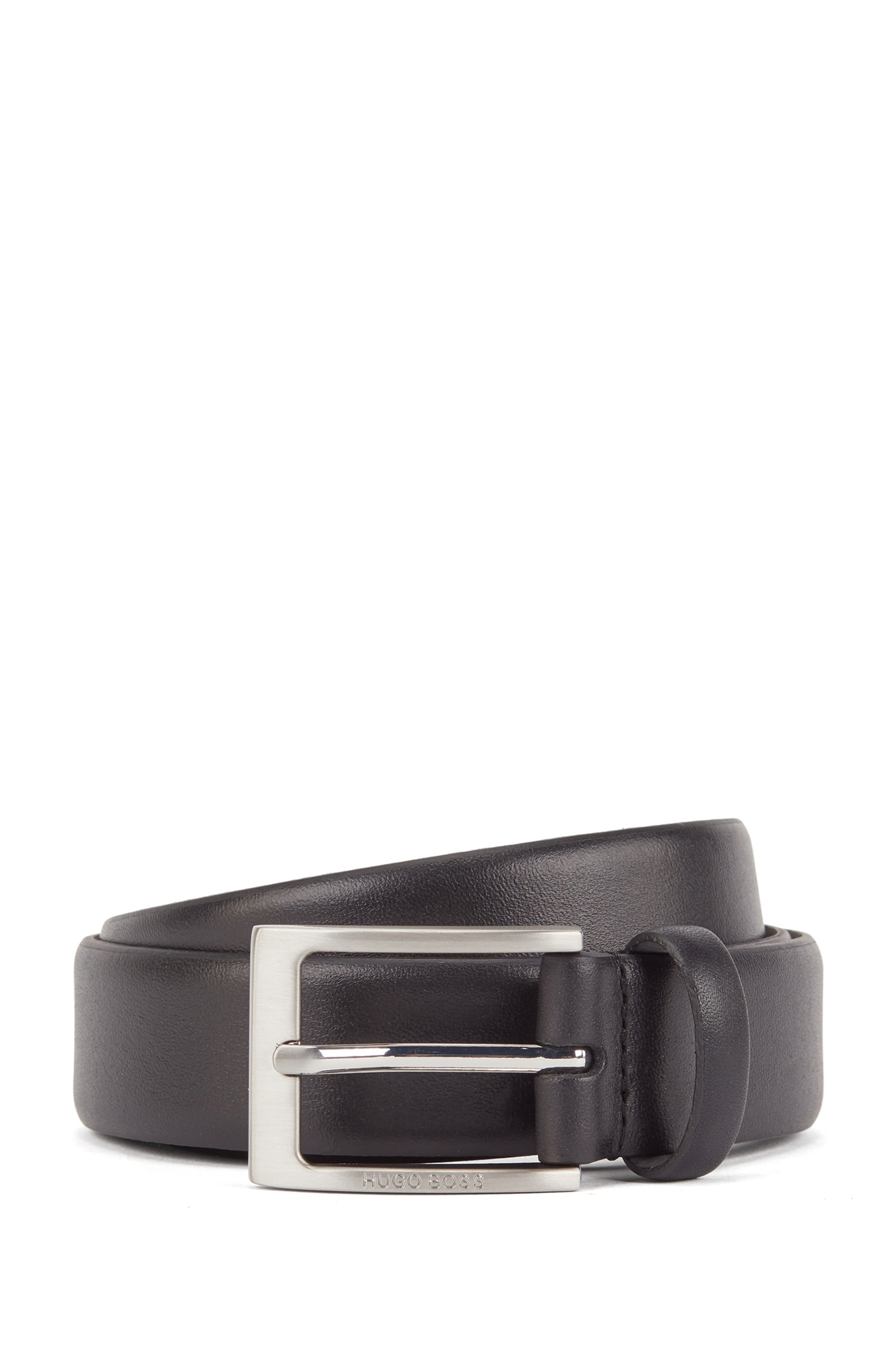 Pin-buckle belt in nappa leather with engraved logo, Black