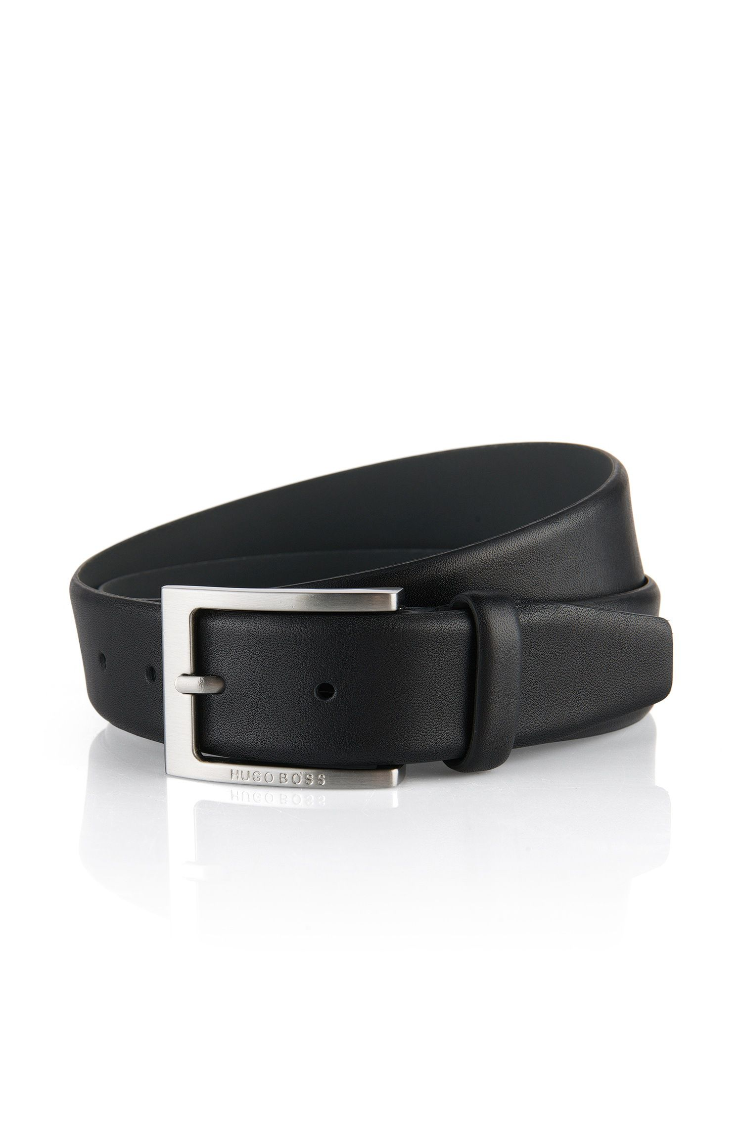 Belt in textured leather, Black