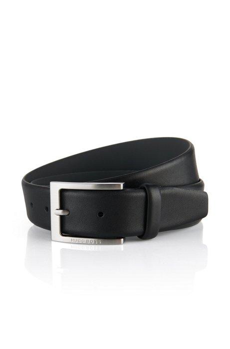 Cinturón de piel con hebilla grabada con logo, Negro