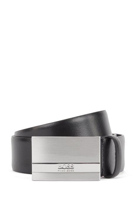 Ceinture en cuir italien avec boucle plate à logo gravé, Noir