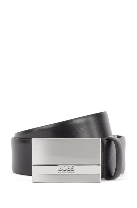 Italian-made belt in smooth leather with plate buckle, Black