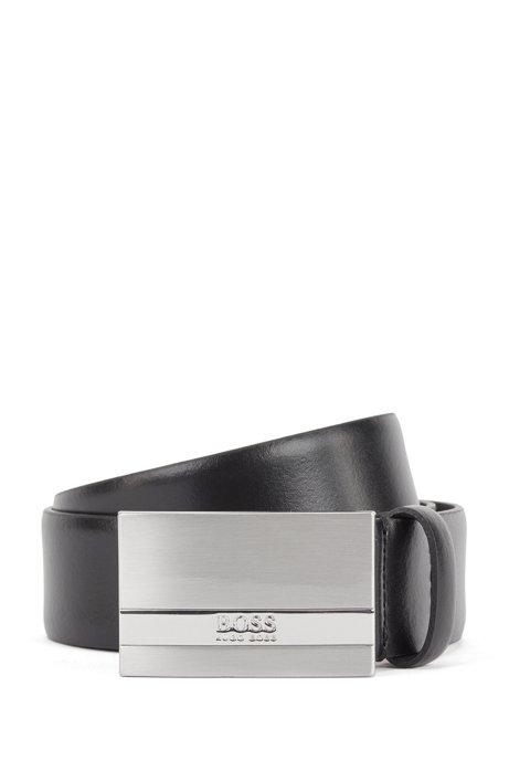 In Italien gefertigter Gürtel aus Glattleder mit Koppelschließe, Schwarz