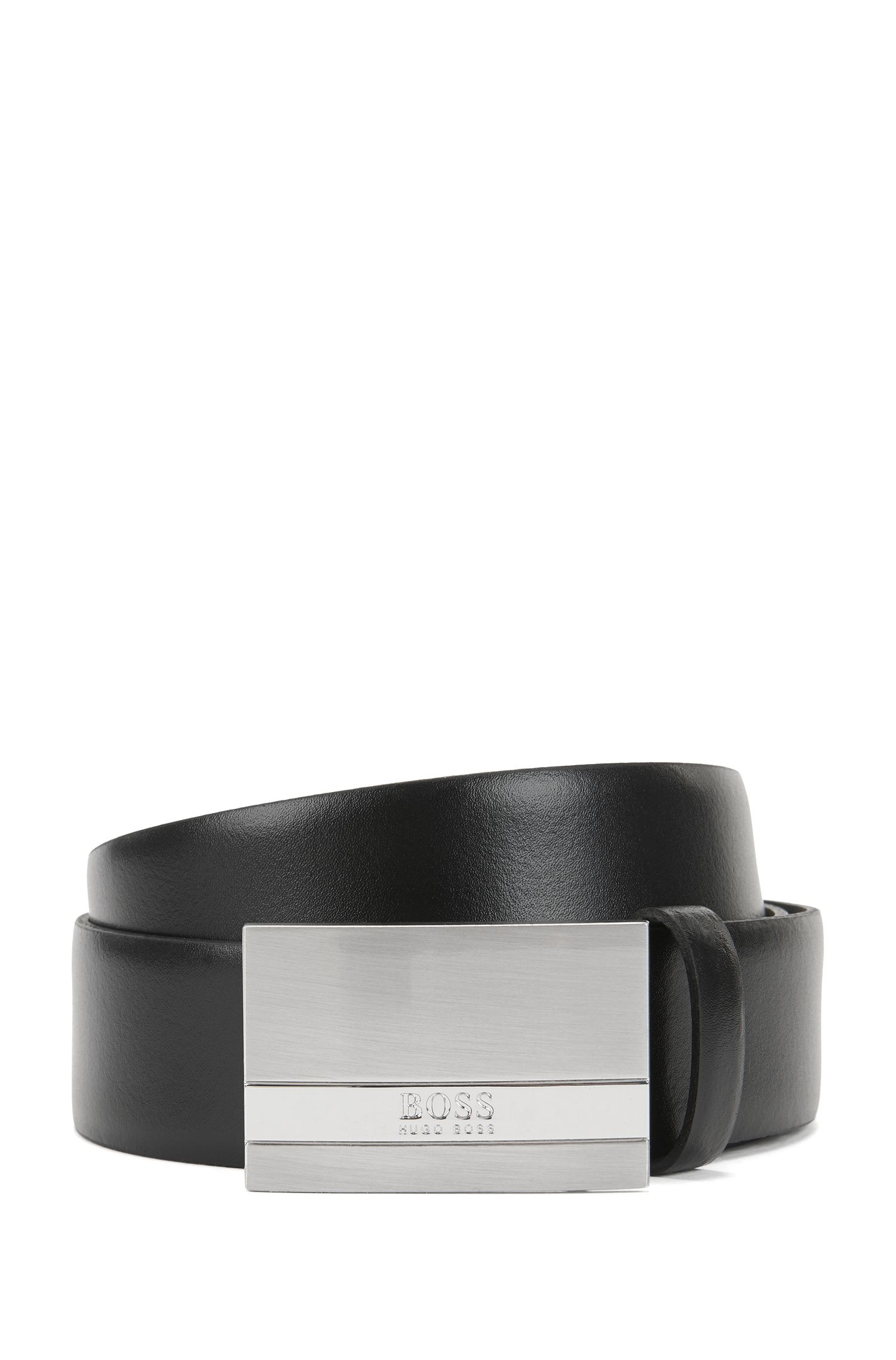 Leather belt with brushed-silver plaque, Black