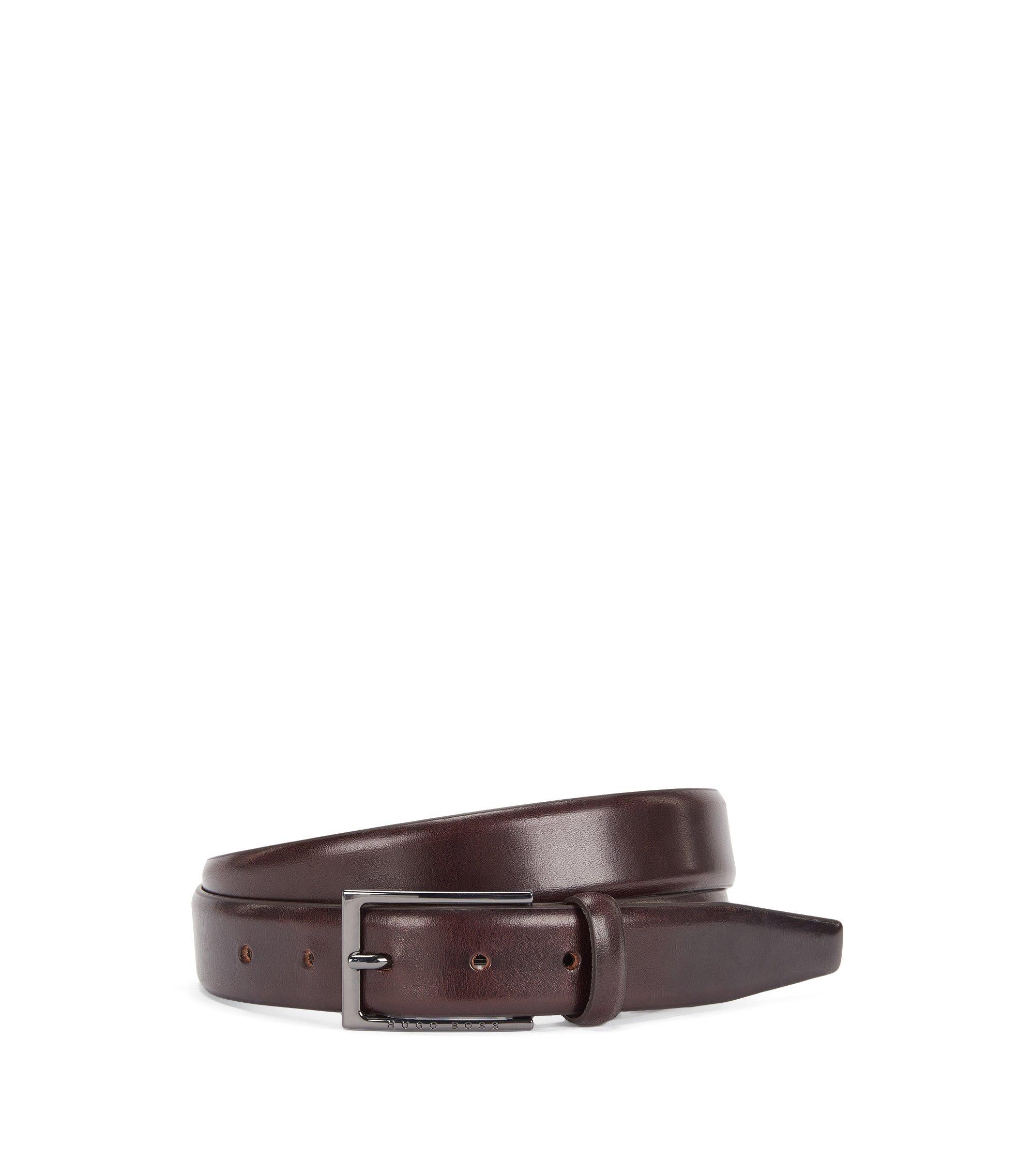 Cinturón de piel de curtido vegetal, Marrón oscuro