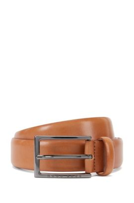 Vegetable-tanned leather belt, Brown