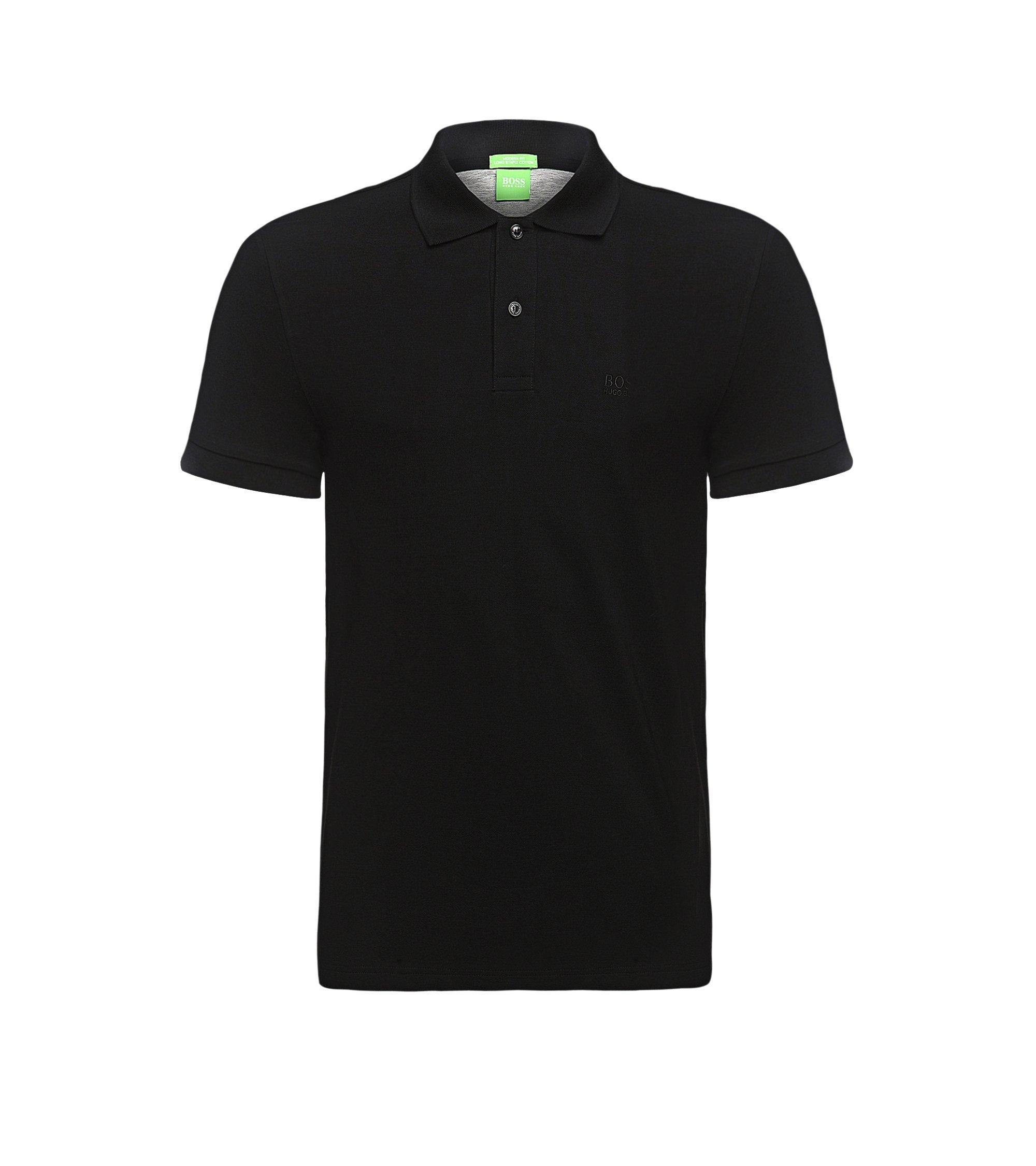 Regular-Fit Poloshirt aus Piqué mit Ton-in-Ton-Details, Schwarz
