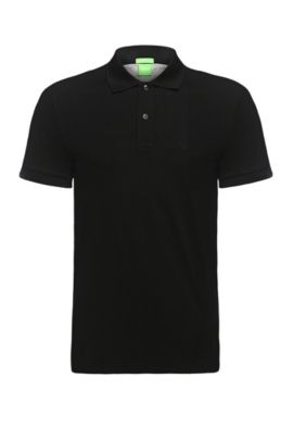 Regular-fit piqué polo shirt with tonal details, Black