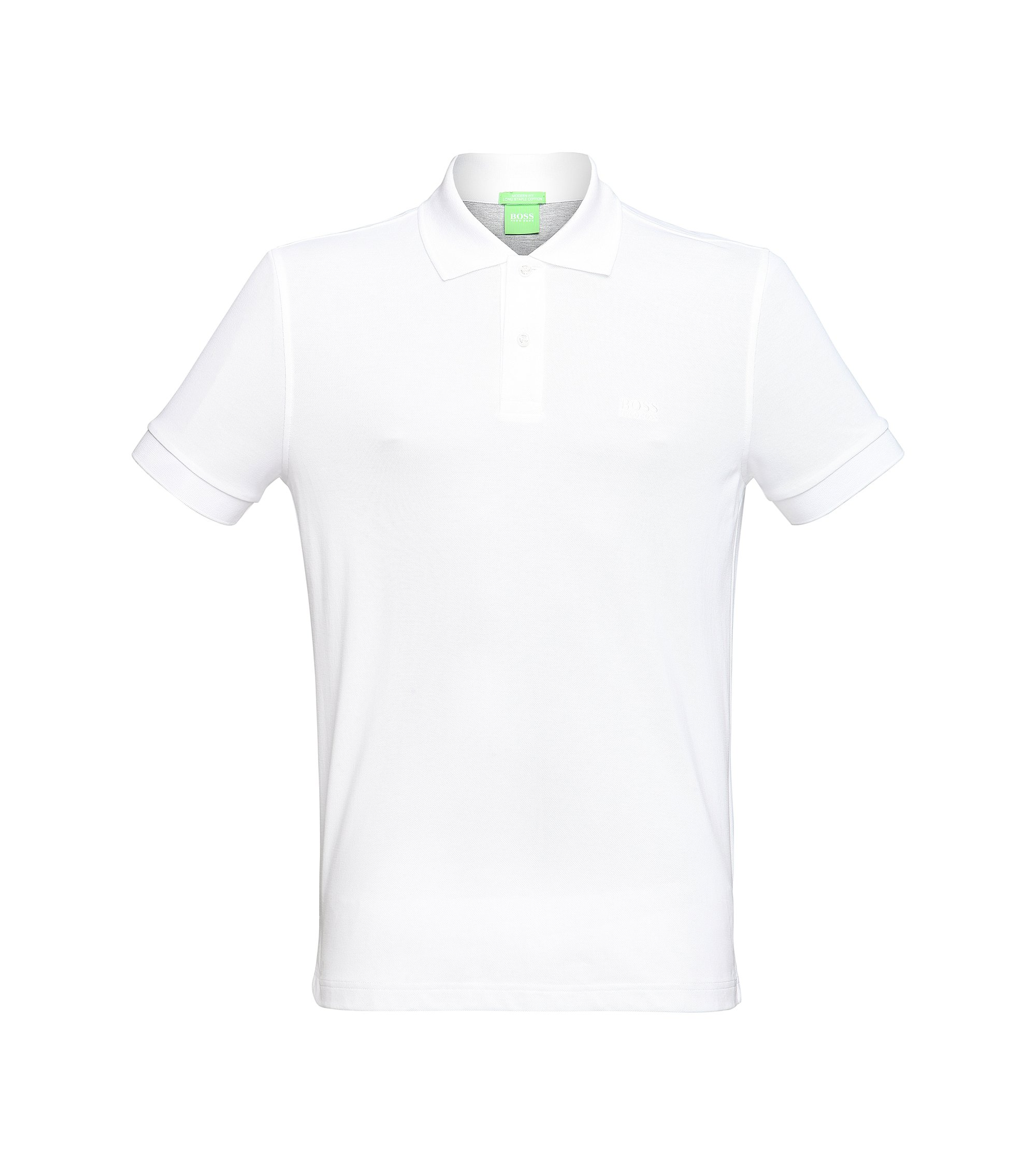 Regular-fit piqué poloshirt met ton-sur-ton details van BOSS Green, Wit