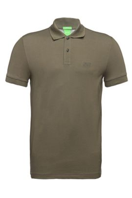 Regular-fit piqué polo shirt with tonal details, Dark Green