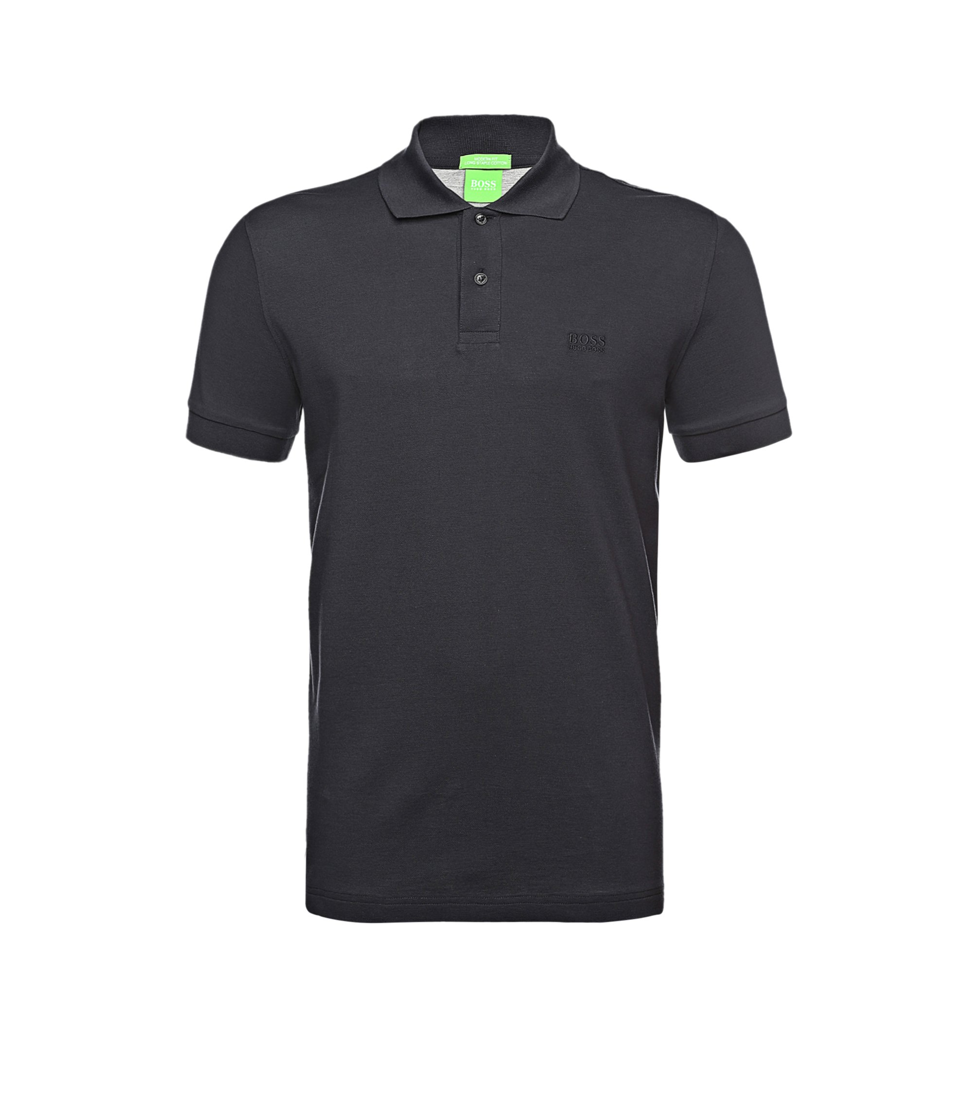 Polo regular fit de piqué con detalles tonales de BOSS Green, Azul oscuro