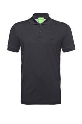 Polo BOSS Green Regular Fit en maille piquée orné de détails ton sur ton, Bleu foncé